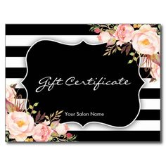 Elegant Floral Black White Stripe Salon Gift Card