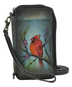 694408058b Anna by Anuschka Northern Cardinal Hand-Painted Leather Cell