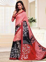 Pink, Red & Black Color Linen Bhagalpuri Party Wear Sarees : Nayantara Collection YF-32008