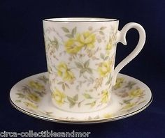 Royal Albert Rose China Chintz Series Yellow Ribbon 1982 Demitasse Cup Saucer