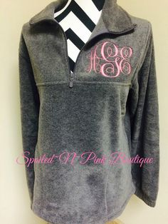 Womens Monogrammed Quarter 1/4 Zip Fleece by SpoiledNPinkBoutique