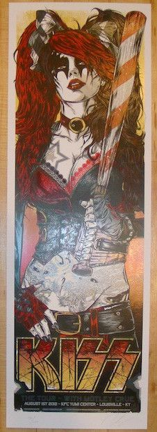 "Kiss w/ Motley Crue - silkscreen concert poster (click image for more detail) Artist: Rhys Cooper Venue: KFC Yum Center Location: Louisville, KY Concert Date: 8/1/2012 Size: 12"" x 36"" Edition: 250; si"