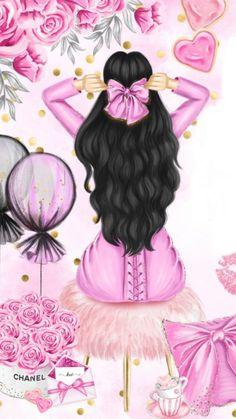 Pink Wallpaper Barbie, Cute Girl Wallpaper, Pink Wallpaper Iphone, Girly Drawings, Cool Art Drawings, Fashion Wall Art, Fashion Painting, Girl Cartoon, Cartoon Art