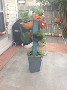 Kim's Awesome Plant Tower Made From Recycled Hard Hats --> http://www.hgtvgardens.com/profile/kim-pendergraft-0000013f-1ee8-d5b4-a1bf-1eeb899e0000?soc=pinterest