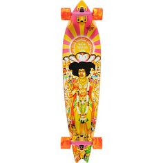 """The Dusters Axis Bold 38"""" longboard comes ready to shred as hard as Jimmy Hendrix did on his guitar. With big and soft 65mm 83a Duster wheels and custom 6"""" Slant inverted trucks in pink you will be crusin' in style. This Jimi Hendrix Dusters Axis Bold comes pre-assembled, ready to ride out of the box, so the skating starts right when you open it. The Dusters Axis Bold as Love longboard features the Jimi Hendrix album cover from """"Axis: Bold as Love"""" on the bottom with a clear gripped top…"""