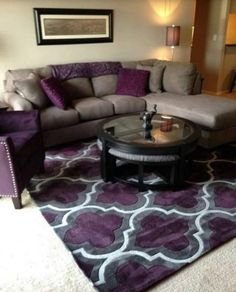 Living Room Ideas Purple And Grey, Paint Colors For Living Room, Living Room Grey, Rugs In Living Room, Living Room Designs, Living Room Furniture, Room Rugs, Furniture Layout, Rustic Furniture