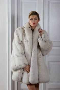 Lynx dyed fox fur stroller fur coat