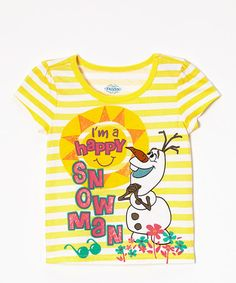 Another great find on #zulily! Yellow Olaf Sunshine Tee - Girls by Frozen #zulilyfinds  $5.99, regular 18.00