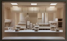 Carcass: A Scale Replica of a Fast Food Kitchen Carved Entirely from Wood by Roxy Paine