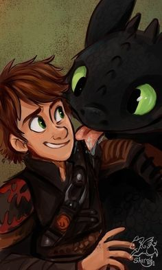 """Toothless and Hiccup, of """"How To Train Your Dragon""""."""