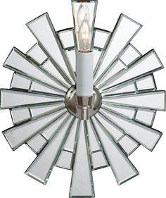 Nate's pick for his bathroom STARBURST MIRROR SINGLE LIGHT SCONCE item # CHD1620 designer E.F. Chapman