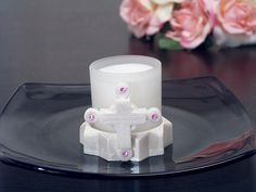 Pave the ways for your new little girl and your guests by using these Glass Candles w/ Round Base w/ Cross w/ Pink Stones! Each pearl white cross designed holder is highlighted by pink rhinestones and. Christening Favors, Baptism Favors, Wedding Favors, Party Favors, Baby Shower Candle Favors, Communion Favors, White Crosses, Cross Designs, Pink Stone