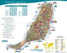 Fuerteventura tourist map Tourist Map, Canary Islands, Spain, Travel, Maps, Beach, Viajes, Big Ben London, Vacations