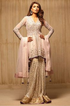 Indian Net Tail Cut Embroidered Shirt // change the sharara into a lehenga