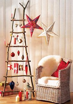 wood ladder christmas tree and star decorations