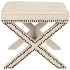 Safavieh Palmer X-bench Nailhead Beige Ottoman   Overstock.com Shopping - Great Deals on Safavieh Ottomans