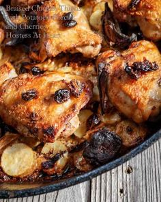 Braised Chicken Thighs - Hostess At potatoes,porcini and dried cherries Cherry Chicken Recipe, Chicken Recipes, Chili Recipes, Slow Cooker Recipes, Lamb Pasta, Braised Chicken Thighs, Creamy Garlic Sauce, Appetizer Dishes, Cherry Recipes