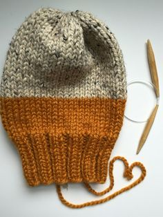 Knit Slouchy Beanie Oatmeal & Butterscotch