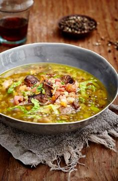 Lentil Soup with Lamb Sausage and Savoy Cabbage recipe with NOMU Vegetable Fond Cabbage Stew, Savoy Cabbage, Cabbage And Bacon, Cabbage Recipes, Soup Recipes, Healthy Recipes, South African Recipes, Ethnic Recipes, Weight Loss Soup