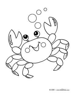 Kawaii crab coloring page