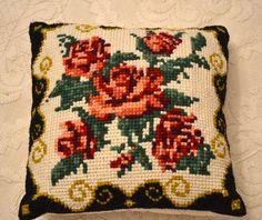 Handmade,canvas,roses,pillow