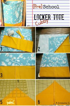 Sew a cubby tote for your child's cubby to keep everything in one place! Better than a backpack because it's already open! These totes are also great for lockers.