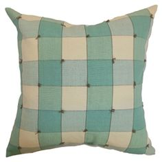 """Transform the look of your living room or bedroom by adding this plaid throw pillow. This accent pillow comes with a pleasing color combination of aqua blue and natural. This square pillow brings character and style to your furniture. Simply toss this 18"""" pillow on top of your sofa, bed or floor. Made from 100% soft cotton fabric. $55.00  #plaid #pillow #tosspillow #homedecor"""