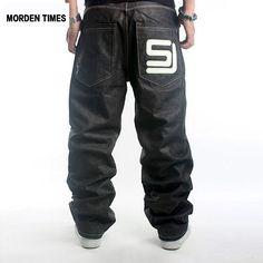 New Mens Fashion Cotton Hip Hop Pants Brand Hip-hop Skateboard Jeans Loose Baggy Denim Trousers Plus Size 30-46
