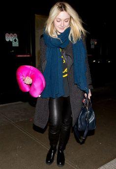 Dakota Fanning wearing Sofia Coppola for Louis Vuitton Suede Asphalt Handbag Helmut Lang Skinny Leather Pants Faliero Sarti Pedro Scarf