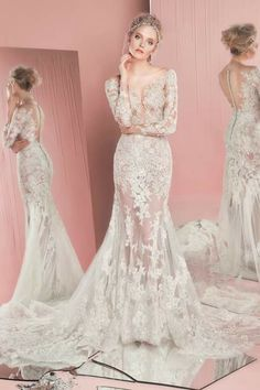 Laced gown. So beautiful!