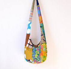 Vintage Crazy Quilt Patchwork Hobo Bag Sling Bag by 2LeftHandz, $32.00
