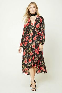 Forever 21 Contemporary - A woven wrap dress featuring a self-tie belt at the waist, surplice neckline, and long sleeves.
