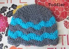 Toddler size blue and gray chevron crochet hat by RockinTheLove, $14.00