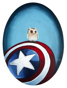Digital Print - Original Acrylic on Canvas Painting of Baby Owl on Captain America's Shield
