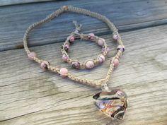 Hemp Necklace Macrame Bracelet Set Square Knot by AshleyAnnJewelry, $50.00