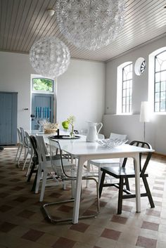 Dining room with giant lamps from ikea and different chairs