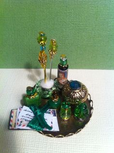 Dollhouse Miniature Emerald Green Perfumes , letters & more by Piera 1:12 Scale #PieraArt