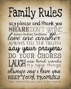 Family Rules  free printable vintage style. Also can download it in chalkboard…