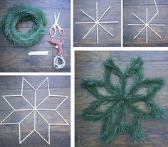 Super easy geometric wreath DIY. All you need is a hot glue gun, flat popsickle sticks, garland, and scissors.