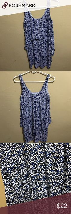 White and blue dress Short white and blue pattern dress. Fits fitted and sexy. Worn once. Dress is in good conditions. Tart Dresses Mini