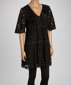 Loving this Black Flower Linen-Blend Tunic Dress on #zulily! #zulilyfinds