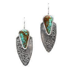 Turquoise Sterling Silver Texture Shield Dangle earrings  OOAK125