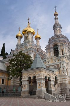 Alexander Nevsky Cathedral, Tallinn, Estonia. It was built to a design by Mikhail Preobrazhensky in a typical Russian Revival style between 1894 and 1900, during the period when the country was part of the Russian Empire.