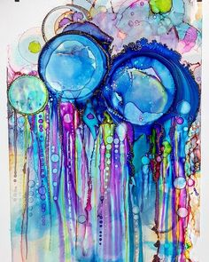 I think this is my new favourite 😍 💙💚💛🧡💜❤🖤💜🧡💛💙💚 art abstractart abstract painting artwork alcoholinks colourcrushcreative… Alcohol Ink Crafts, Alcohol Ink Painting, Alcohol Ink Art, Abstract Watercolor, Abstract Art, Beach Watercolor, Bubble Painting, Spray Painting, Art Graphique