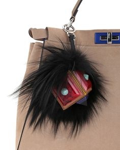 Fendi Prism Square Fur Monster Charm, Black