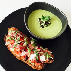 There's nothing quite like enjoying an outdoor picnic to celebrate summer time! And what better way than with a menu of fresh, simple, seasonal ingredients like this delicious bruschetta with chilled summer zucchini soup.