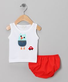 Look at this #zulilyfind! Victoria Kids White Owl & Car Tank & Red Diaper Cover - Infant by Victoria Kids #zulilyfinds
