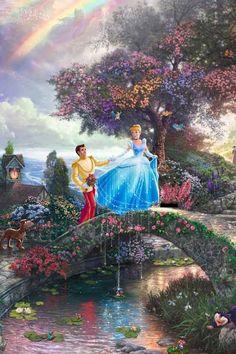 Disney Cinderella by Thomas Kinkade Disney Amor, Arte Disney, Disney Pixar, Disney Images, Disney Pictures, Disney Fine Art, Disney Princess Cinderella, Disney Princess Paintings, Disney Background