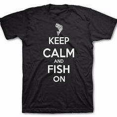 Kid's Keep Calm and Fish on t-shirt youth fishing tees