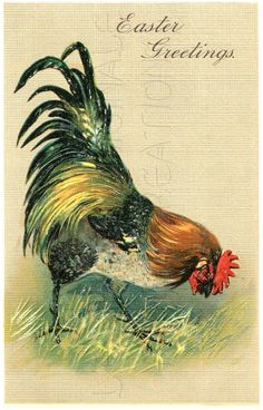 DIGITAL Download EASTER Greetings Rooster by lestampeoriginale, $2.50